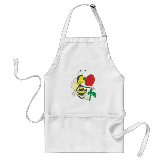 cute happy bee smelling rose standard apron