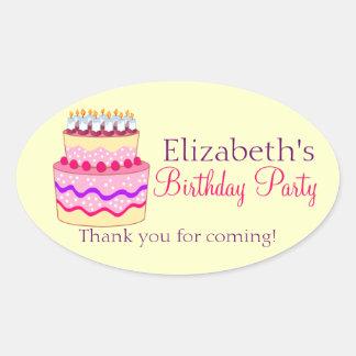 Cute Happy Birthday Cake Personalized Oval Sticker