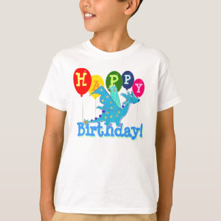 Cute Happy Birthday Dragon Party Balloons Kids Tee