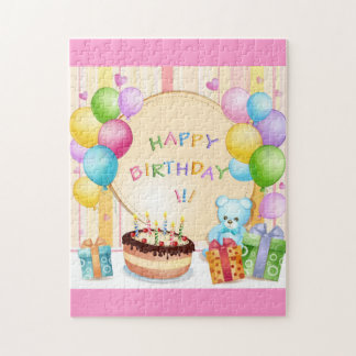 Cute happy birthday jigsaw puzzle