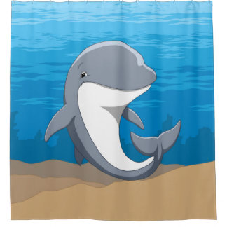 Cute Happy Bottlenose Dolphin In the Ocean Shower Curtain