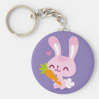 Cute Happy Bunny Rabbit Holding a Carrot Basic Round Button Key Ring
