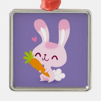 Cute Happy Bunny Rabbit Holding a Carrot Ornaments
