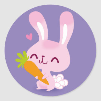 Cute Happy Bunny Rabbit Holding a Carrot Stickers