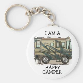 Cute Happy Camper Big RV Coach Motorhome Basic Round Button Key Ring