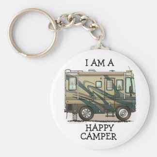Cute Happy Camper Big RV Coach Motorhome Key Chain