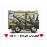 Cute Happy Camper Big RV Coach Motorhome Postcard