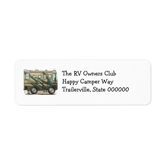 Cute Happy Camper Big RV Coach Motorhome Return Address Label