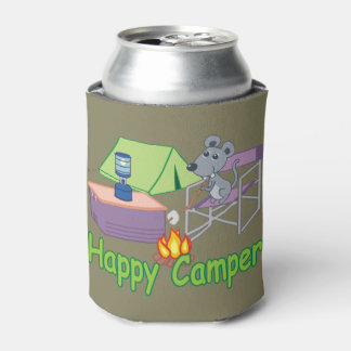 Cute Happy Camper Cartoon Mouse Can Cooler