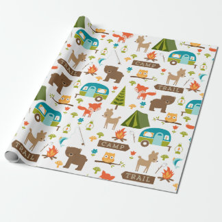 Cute Happy Campers Woodland Pattern Wrapping Paper