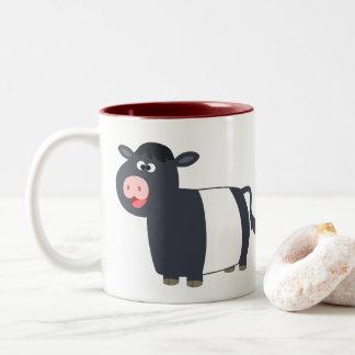 Cute Happy Cartoon Belted Galloway Cow Two-Tone Coffee Mug