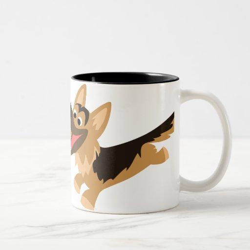 Cute Happy Cartoon German Shepherd Mug