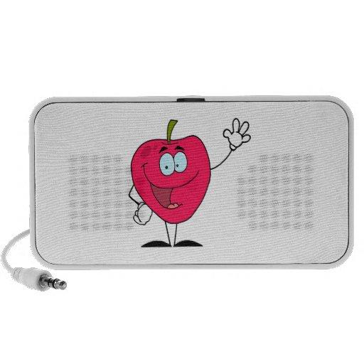 cute happy cartoon red apple character iPhone speakers