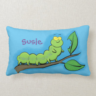 Cute, happy, caterpillar munching on a leaf pillow