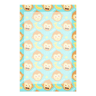 Cute, Happy, Cheeky Monkey Pattern with Bananas Stationery Design