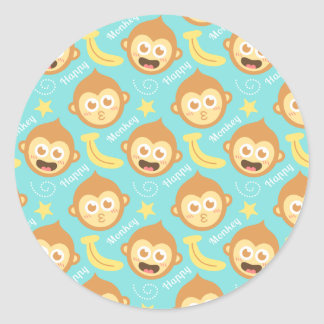 Cute, Happy, Cheeky Monkey Pattern with Bananas Round Stickers