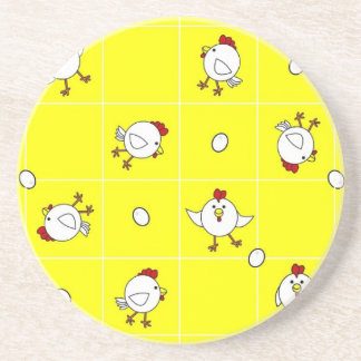 Cute Happy Chicken Dance Yellow Coaster