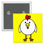 Cute Happy Chicken Pinback Buttons