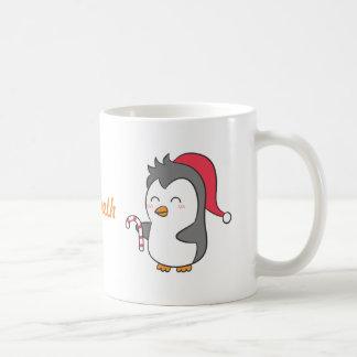 Cute Happy Christmas Penguin Candy Cane For Kids Coffee Mug
