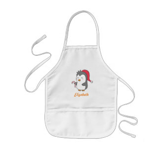 Cute Happy Christmas Penguin Candy Cane For Kids Kids Apron