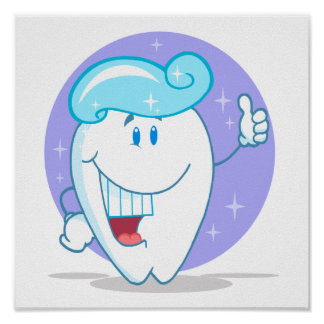 cute happy clean sparkling tooth cartoon character poster