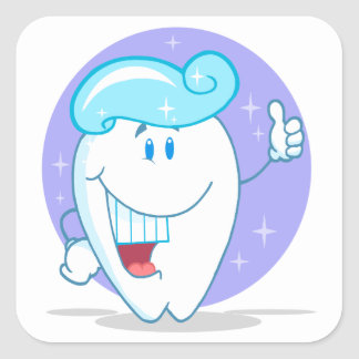 cute happy clean sparkling tooth cartoon character square sticker