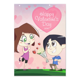 Cute Happy Couple Pink Valentine's Day Card 13 Cm X 18 Cm Invitation Card
