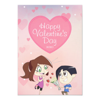 Cute Happy Couple Pink Valentine's Day Card 13 Cm X 18 Cm Invitation Card