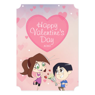 Cute Happy Couple Valentine's Day Card for Her 13 Cm X 18 Cm Invitation Card