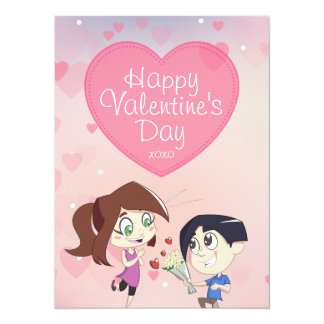Cute Happy Couple Valentine's Day Card with Hearts 14 Cm X 19 Cm Invitation Card
