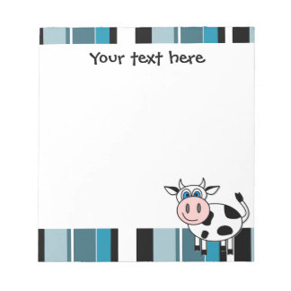 Cute Happy Cow Notepade - Blue Stripe Notepad