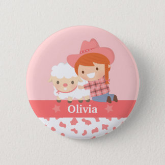 Cute Happy Cowgirl with Lamb For Girls 6 Cm Round Badge