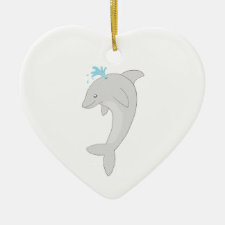 Cute Happy Dolphin Double-Sided Heart Ceramic Christmas Ornament