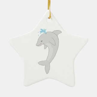 Cute Happy Dolphin Double-Sided Star Ceramic Christmas Ornament
