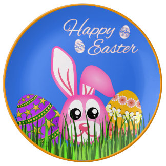 "Cute Happy Easter Bunny Eggs 10.75"" Ceramic Plates Porcelain Plates"