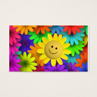 Cute Happy Face Flowers Business Card