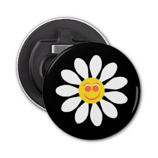 Cute Happy Face Girly White Daisy Flower on Black