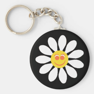 Cute Happy Face Girly White Daisy Flower on Black Key Ring