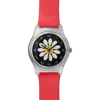 Cute Happy Face Girly White Daisy Flower on Black Watch