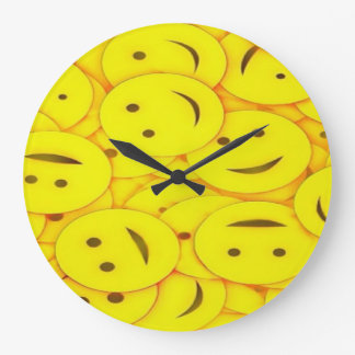 Cute happy faces wall clock