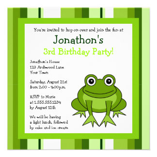 Cute Happy Frog w Stripes Birthday Invite