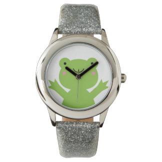 Cute Happy Green Frog Wrist Watch