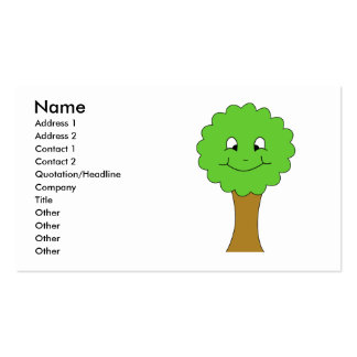 Cute Happy Green Tree. On white. Pack Of Standard Business Cards