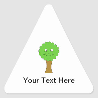 Cute Happy Green Tree. On white. Triangle Stickers