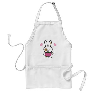 cute happy hearts bunny standard apron