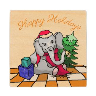 Cute Happy Holidays Santa Cartoon Elephant Wood Coaster