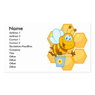 cute happy honey bee and honeycomb business card templates