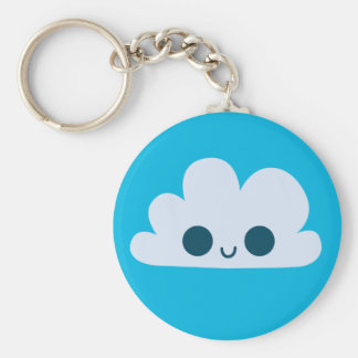 Cute Happy Little Cloud Basic Round Button Key Ring