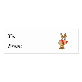 Cute Happy Little Red Nose Reindeer Pack Of Skinny Business Cards