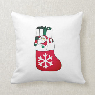 Cute Happy Little Santa Claus in the Sock Cushion